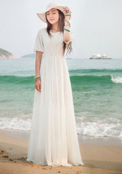white floopy hat with long chiffon summer dress