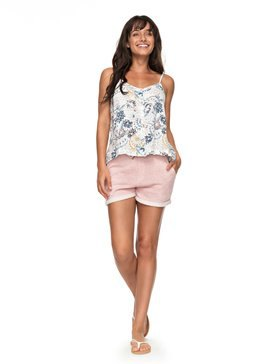 white floral embroidered vest top with pink fleece shorts
