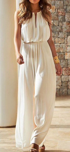 white gathered waist key hole long summer dress