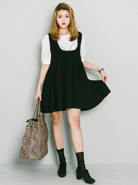 white half sleeve sweater with black suspender mini swing dress