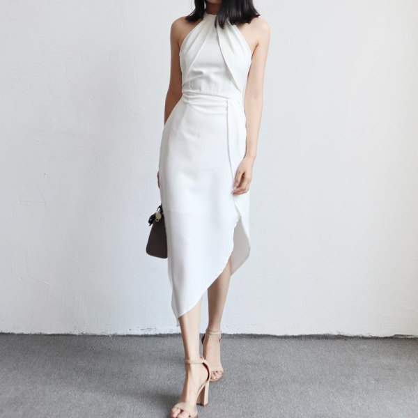 white halter neck gathered waist asymmetric tulip dress