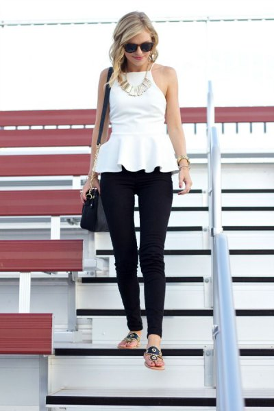 white halter peplum blouse with black skinny pants