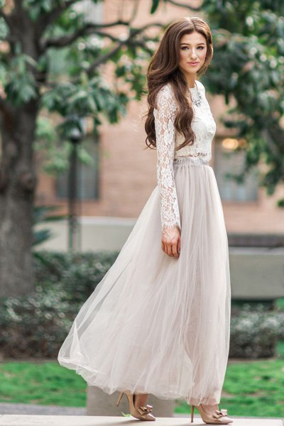 white lace blouse with light grey maxi tulle skirt