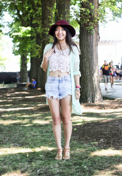 white lace crop top with long cardigan and black felt hat