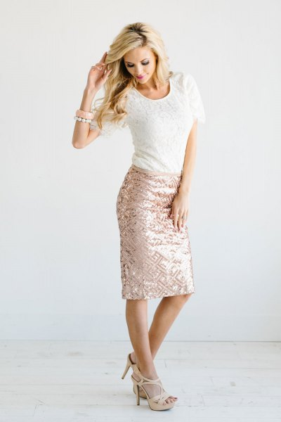 white lace top with rose gold bodycon midi skirt