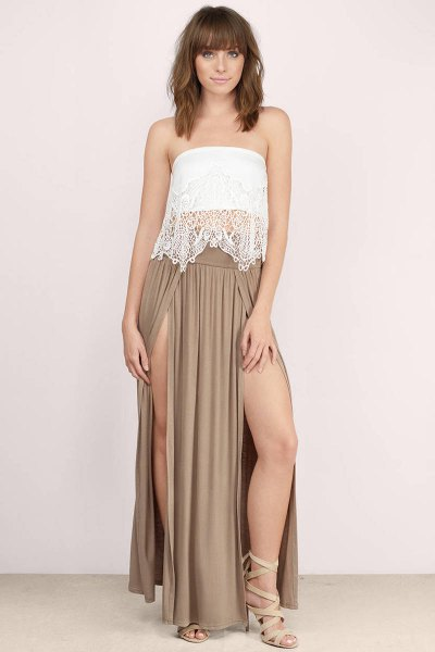 white lace tube top with crepe double slit maxi dress