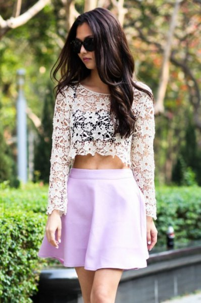 white long sleeve crop top with sky blue mini skater skirt