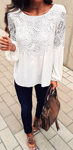 white long sleeve lace blouse with black skinny jeans
