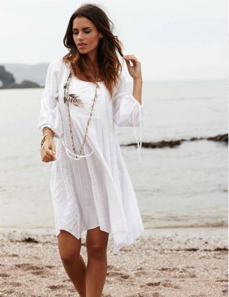 white long sleeve scoop neck cotton mini dress