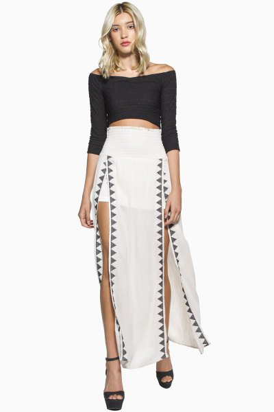 white maxi skirt with black three quarter sleeve off shoulder crop top