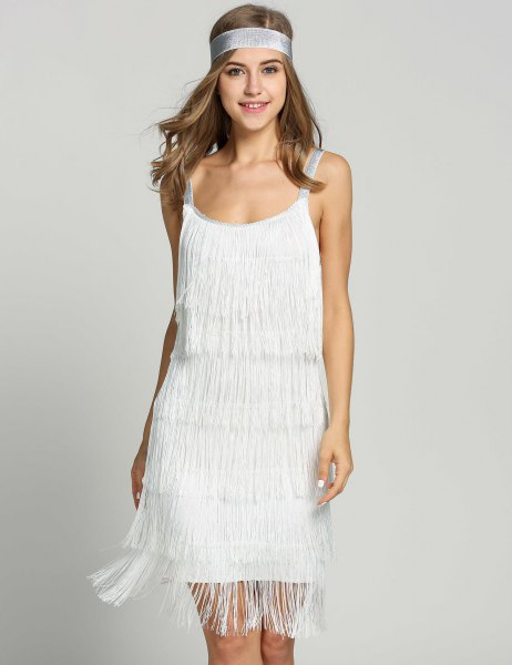 white mini fringe dress with vintage headband