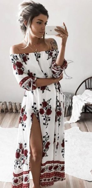white off the shoulder floral printed high split long dress