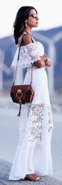 white off the shoulder lace long dress