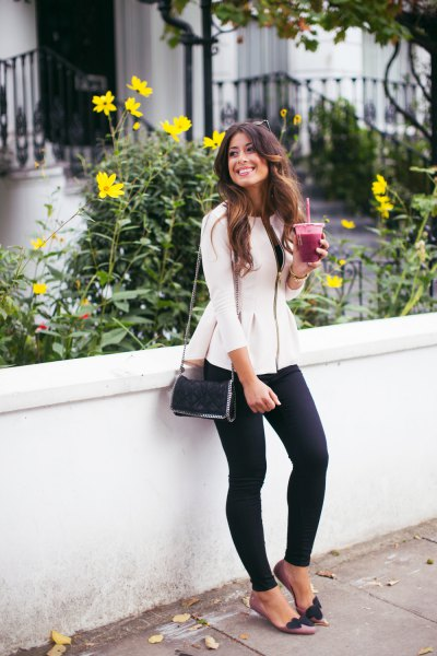 white peplum blazer with black skinny jeans