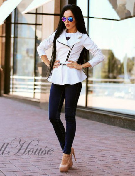 white peplum leather jacket with navy skinny jeans