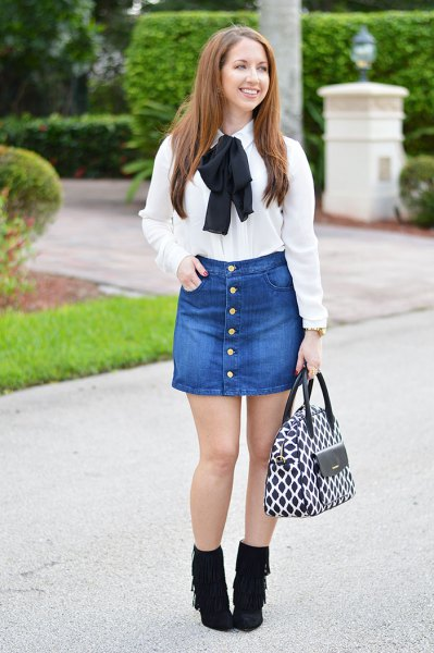 white ribbon bow shirt with button front denim skirt