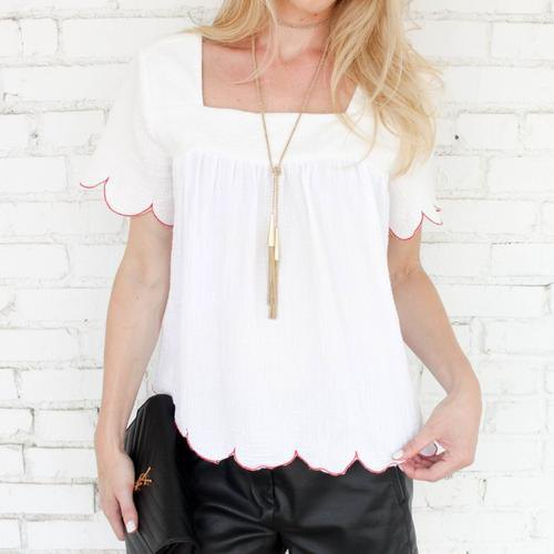 white scalloped hem square head blouse with black silk pants