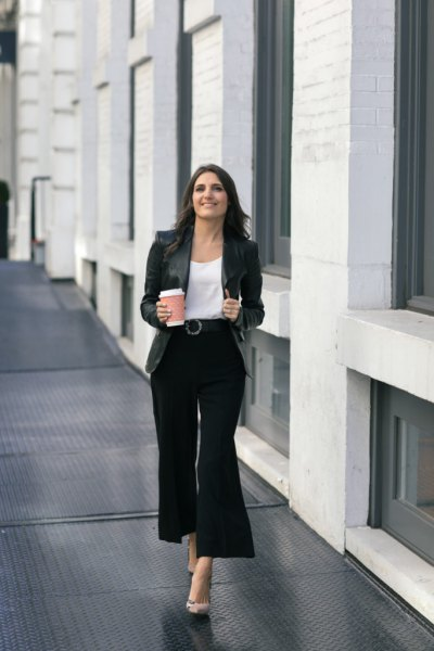 white scoop neck blouse and black wide leg cropped pants