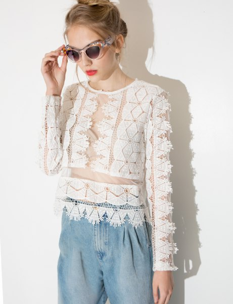 white semi sheer lace top with light blue chambray pants