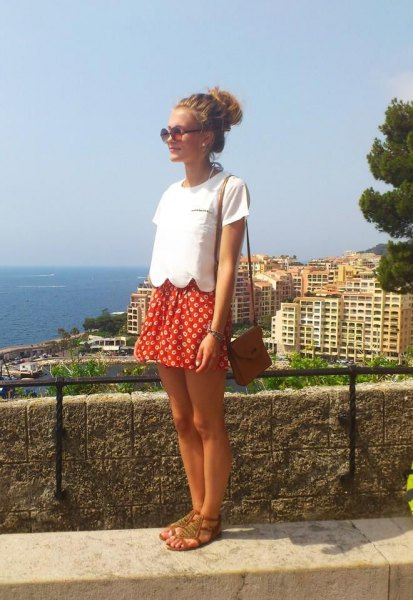 white short sleeve top with red and white polka dot mini skirt
