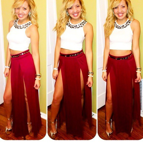 white sleeveless crop top with red double slit maxi skirt