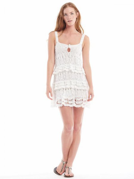 white square neck lace mini flapper dress
