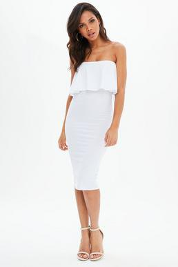 white strapless fold shoulder midi bodycon dress