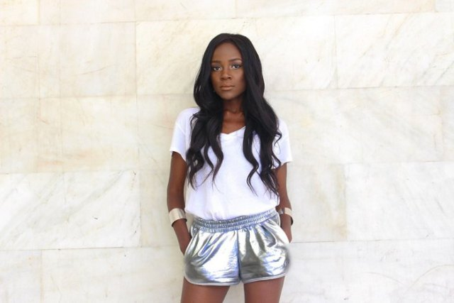 white t shirt with silver metallic running shorts