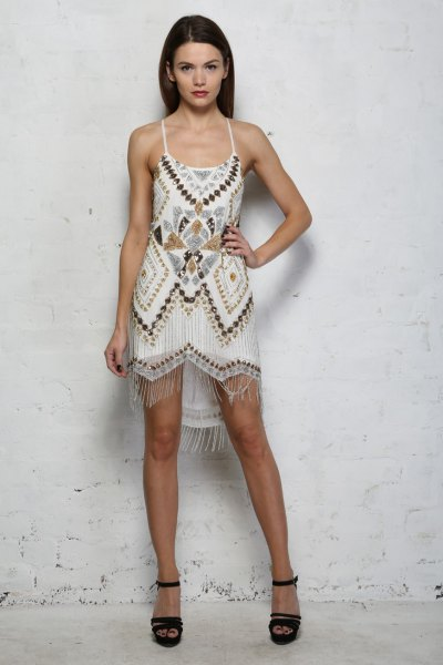 white tribal printed mini flapper dress
