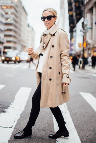 white turtleneck sweater with beige trench coat