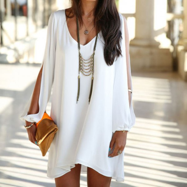 white v neck tunic dress with boho style long necklace