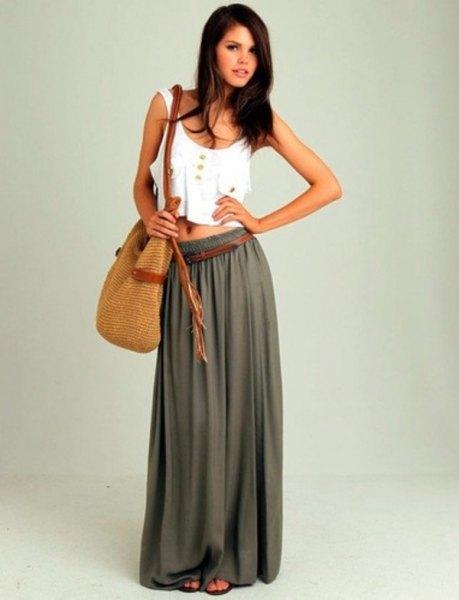 white vest crop top with green floor length skirt