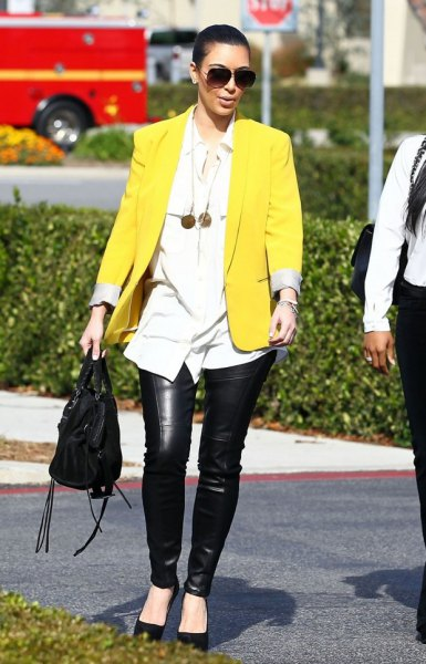 yellow blazer with white boyfriend shirt and leather pants