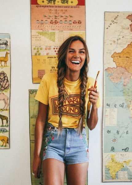 yellow retro tee with blue high waisted denim shorts