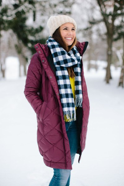 yellow sweater and checkered scarf