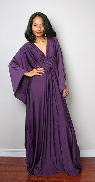 batwing wide sleeve purple dress