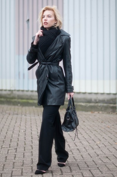 belted leather trench coat with black scarf and sweater