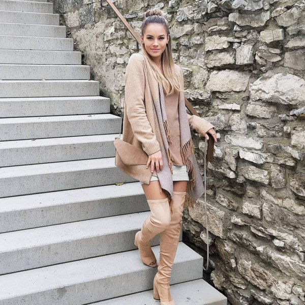 best open toe over the knee boots outfit ideas