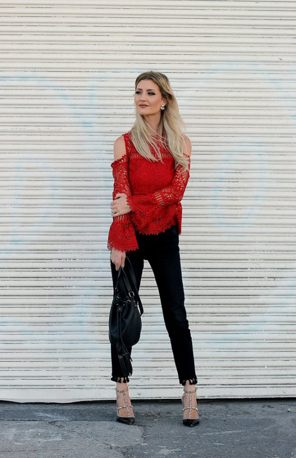 best red lace top outfit ideas