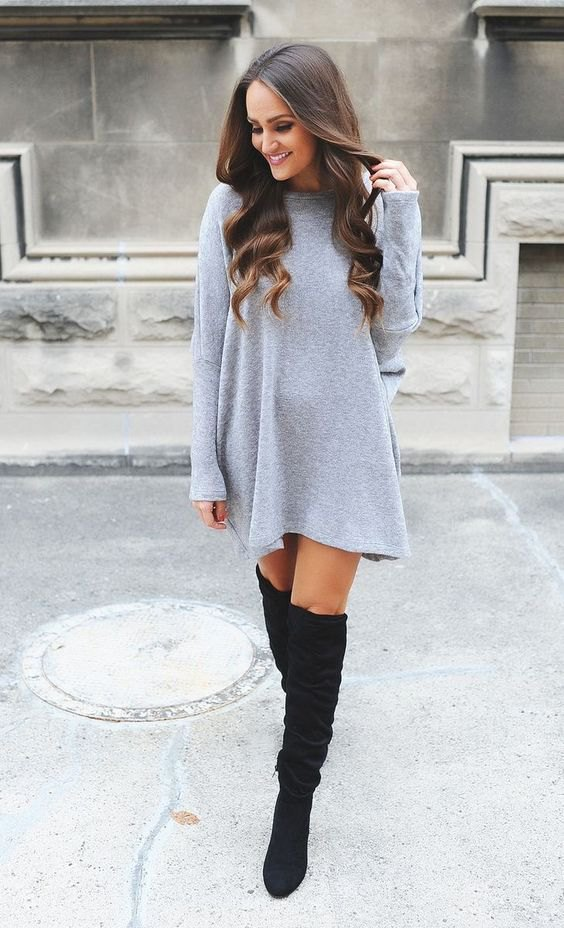 15 Attractive Grey Sweater Dress Outfit Ideas , FMag.com
