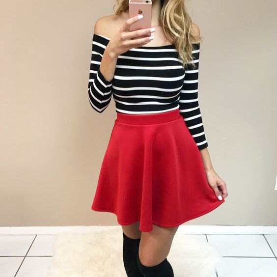 b428b4cfeb 15 Best Red Skater Skirt Outfit Ideas  Style Guide - FMag.com