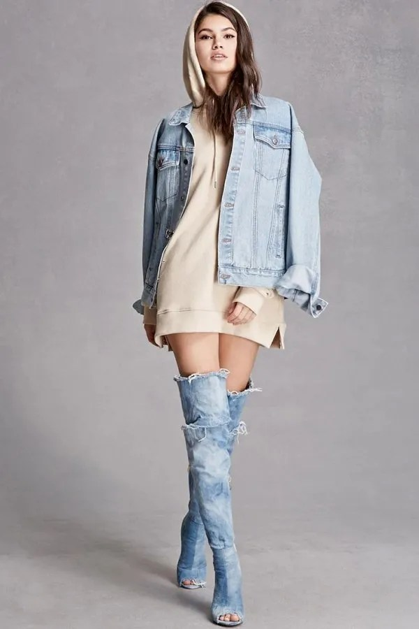 How To Wear Denim Thigh High Boots 15 Chic Outfit Ideas - FMag.com