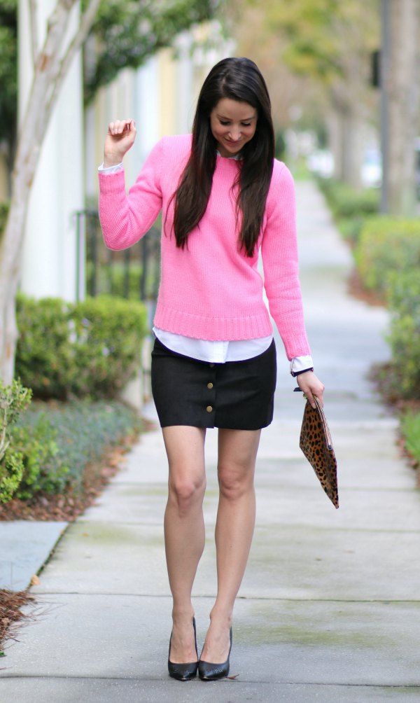 cecec5101ad 15 Attractive Hot Pink Sweater Outfit Ideas for Ladies - FMag.com
