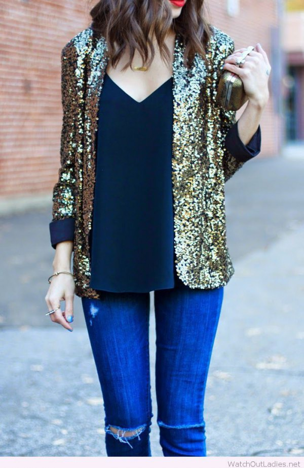 best gold blazer outfit ideas for women