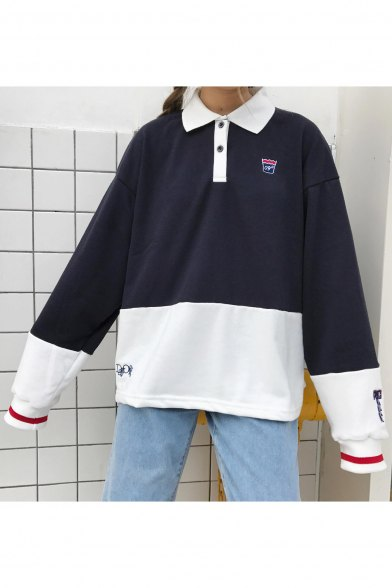 black and white color block collared sweatshirt
