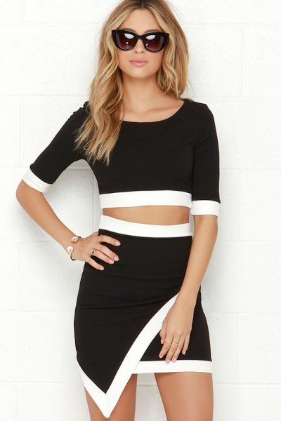 black and white half sleeve two piece mini wrap dress