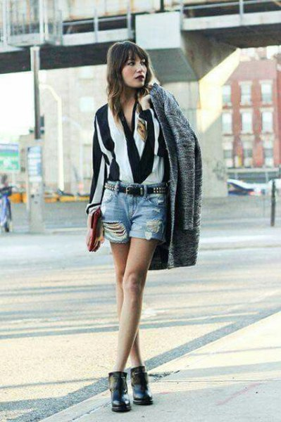black and white striped blouse with denim ripped shorts