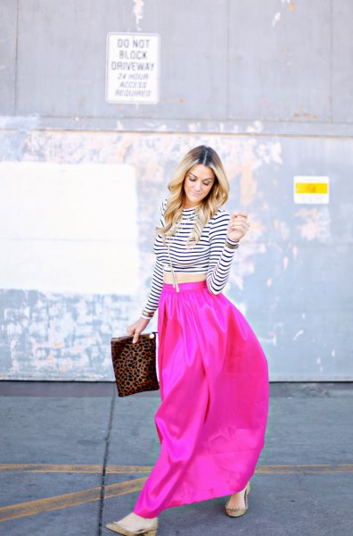 black and white striped cropped tee with hot pink maxi skirt