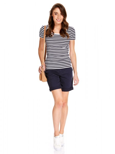 black and white striped t shirt with navy mini shorts