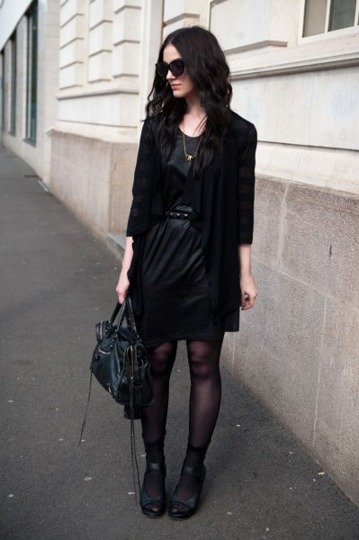 black blazer with leather mini belted dress